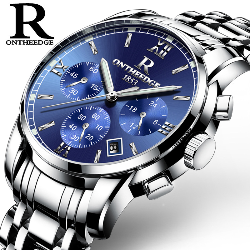 Men Automatic Waterproof Noctilucence Mechanical Watch with Steel Brand Rome 026 blue silver edge