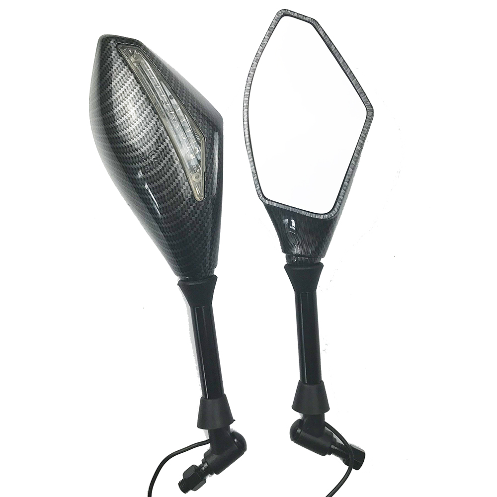 Motorcycle LED Turn Lights Side Mirrors Turn Signal Indicator Rearview Mirror  Snake pattern_Single point light