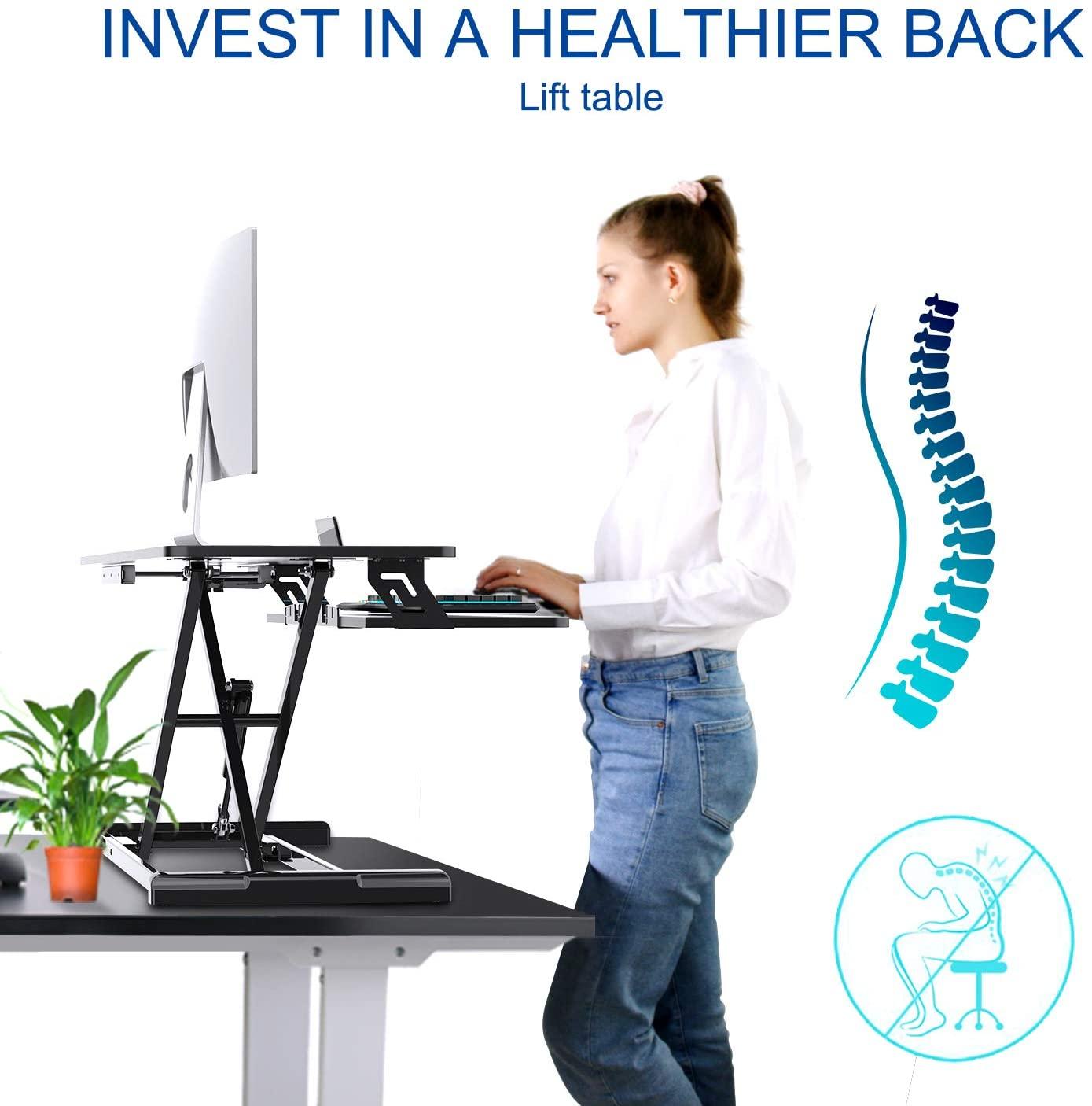 [US Direct] Smugdesk Standing Desk, Sit Stand Up Desk Height Adjustable Table 36 inch Standing Desk Converter, Ergonomic Tabletop Workstation Desk Riser, Home