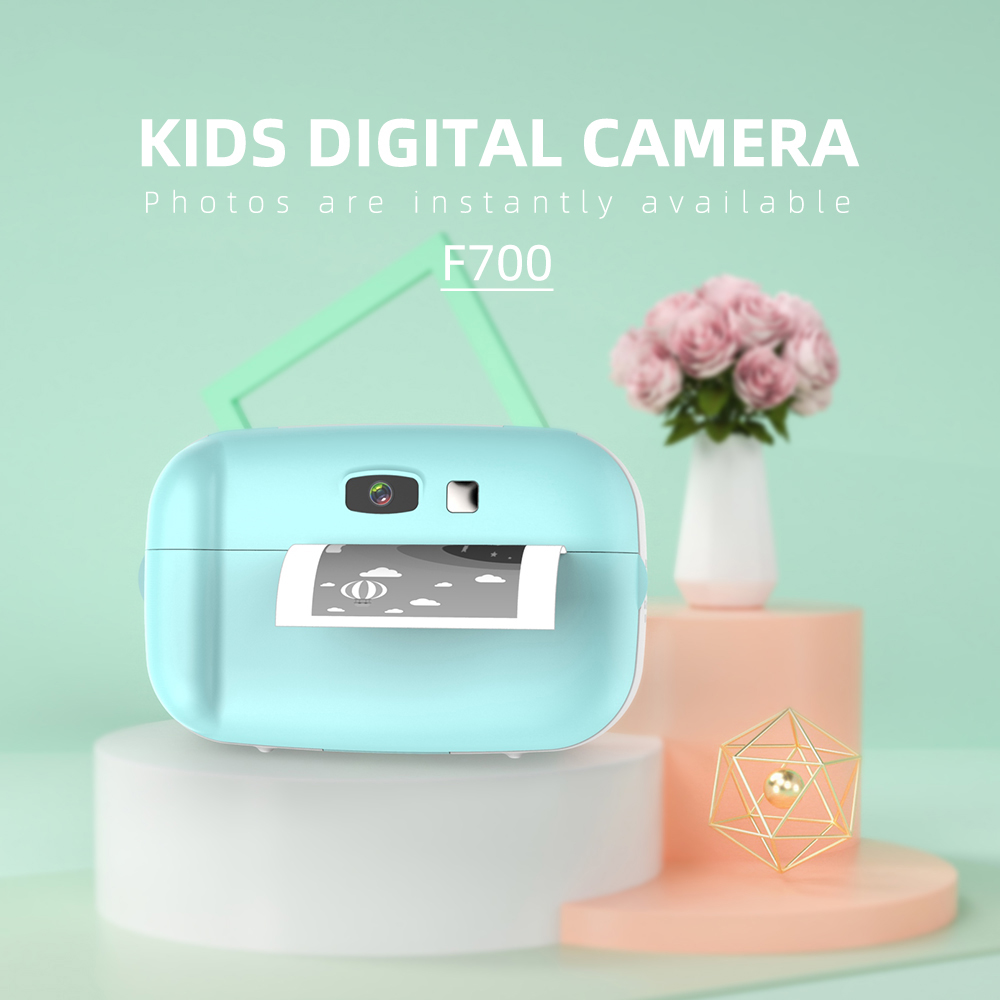 Cute Mini High Definition Cartoon Child Instant Photo Printing Camera blue