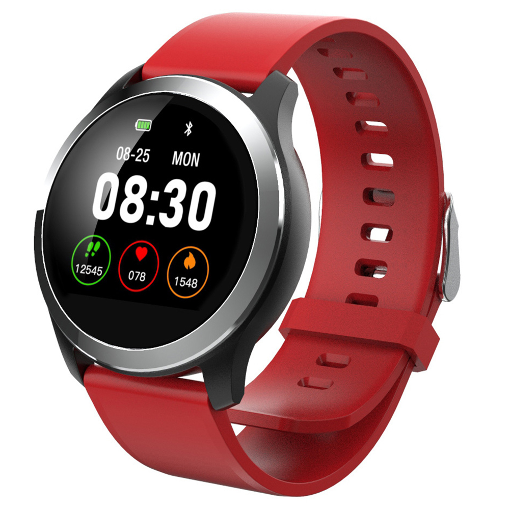 Original LEMFO Z03 Smart Watch Color Screen ECG+PPG Heart Rate Blood Pressure Sport Smartwatch Red silicone band