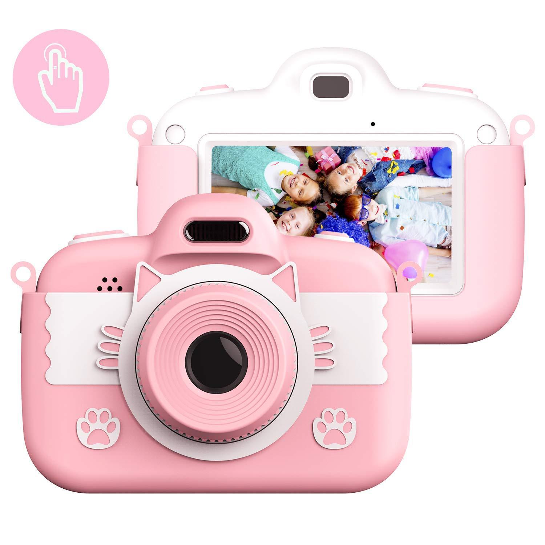 Mini Portable Children Camera 1800w Touch Screen Front Rear Dual Camera Pink