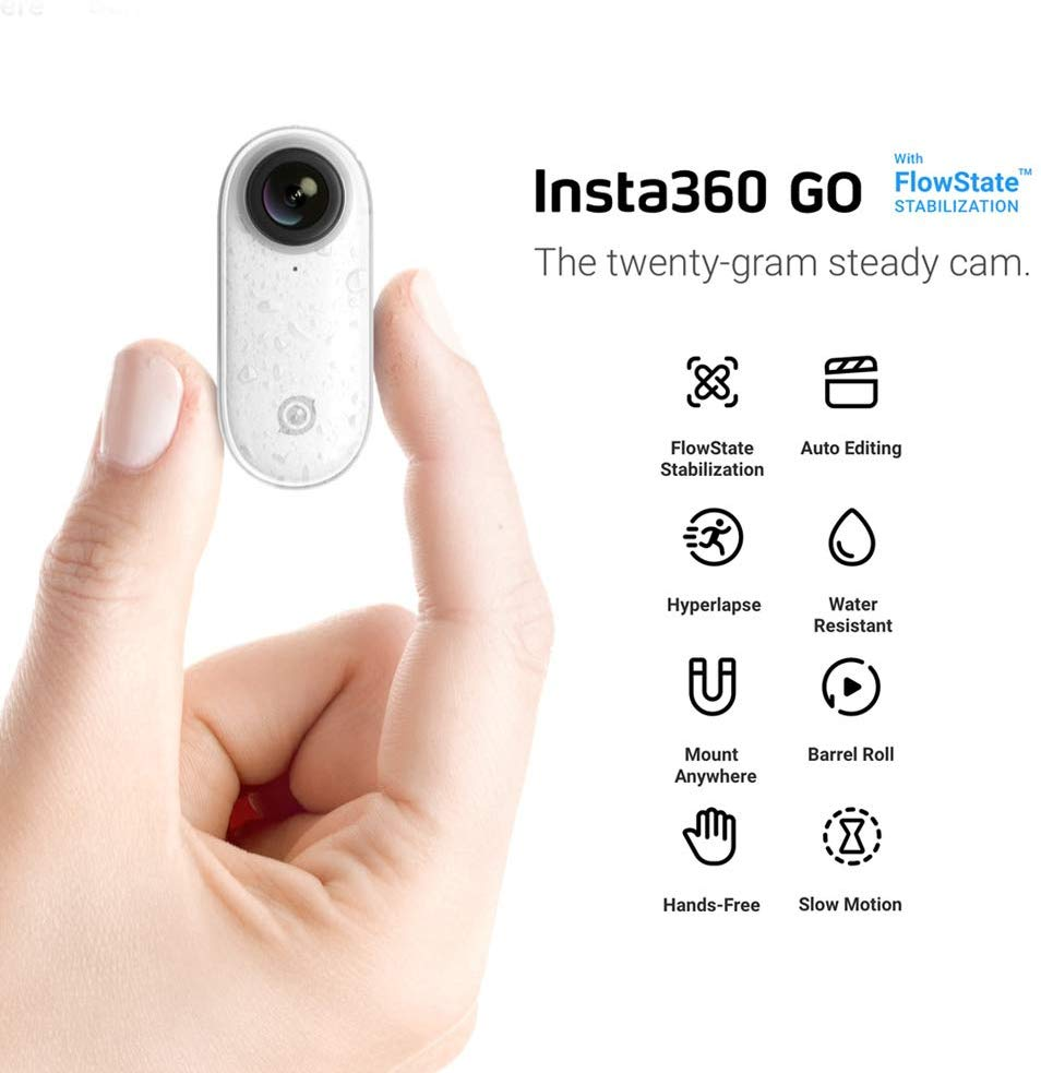 Insta360 Go 1080P Video Sports Action Camera FlowState Stabilizetion Timelapse Hyperlapse Slow Motion BT Connection APP Control for YouTube Vlog Video Making for iPhone X/XS/XS Max/8/7s Plus white