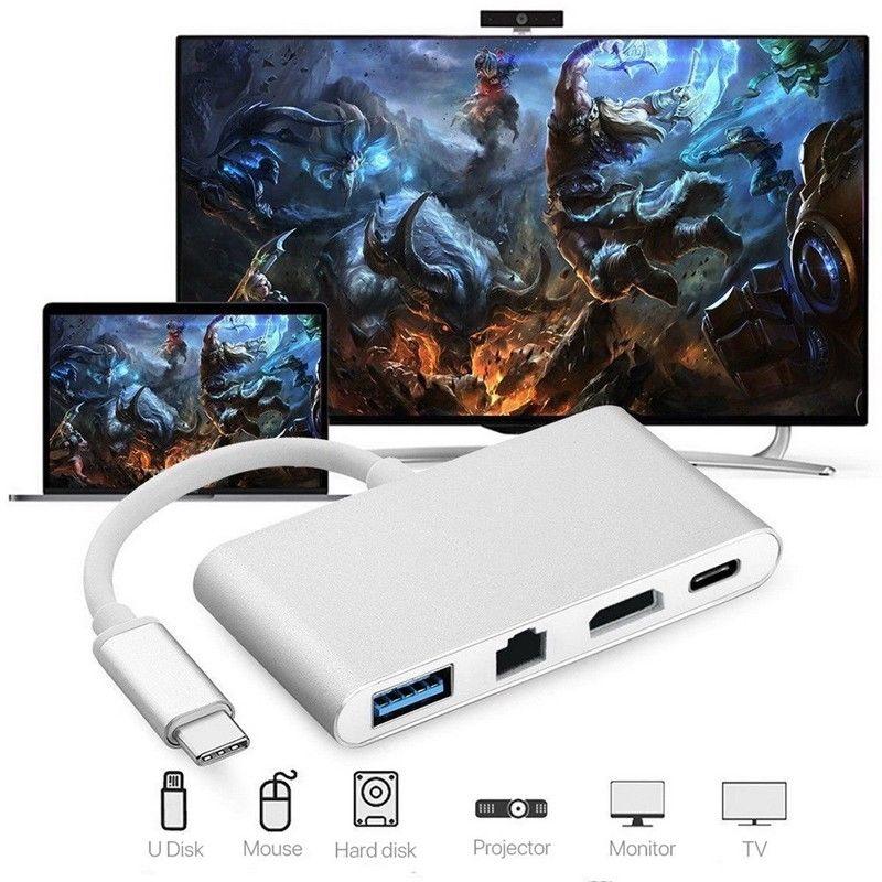 USB C to HDMI 4K+ RJ45 Gigabit Ethernet+ USB 3.1 Type C Hub Adapte  Silver