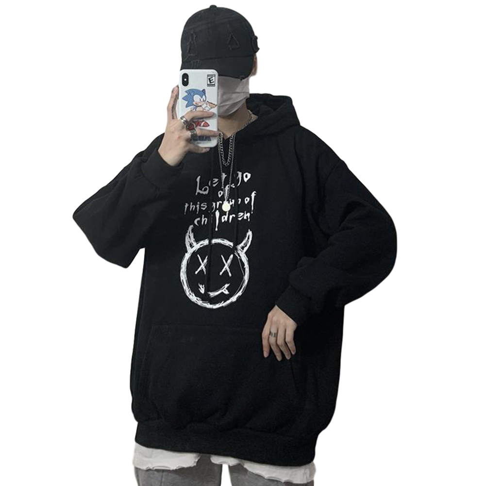 Couples Long-sleeved Hoodies Fashion Retro hand-painted graphic alphabet printing pattern Loose Fleece Hooded Long Sleeve Top Black _L