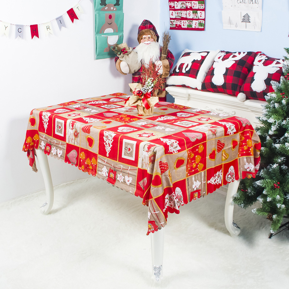 150x180cm Washable Christmas Series Cartoon Pattern Table Cover for Party Decor B