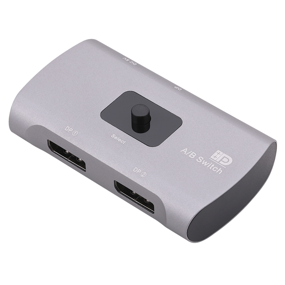 Bidirectional DP 4K 60Hz 2X1 or 1X2 Converter Switch 3D High-definition Visual Effects For Multiple Sources And Displays Silver gray