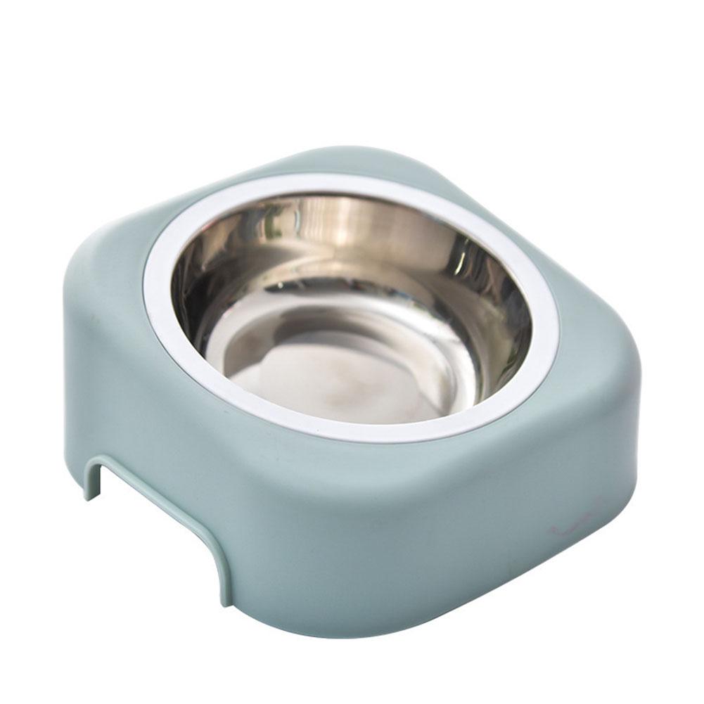 Pet Dog Bowl Stainless Steel Travel Feeding Feeder Water Food Bowl Anti-slip Cat Dish Tilted Feeder Slope Base for Pet Dog Puppy blue
