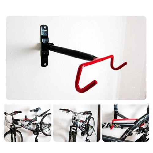 Bike Rack Wall Mount Garage Bicycle Storage Hanger Hook Holder Shelf for Indoor Space Saving Red hook frame_F