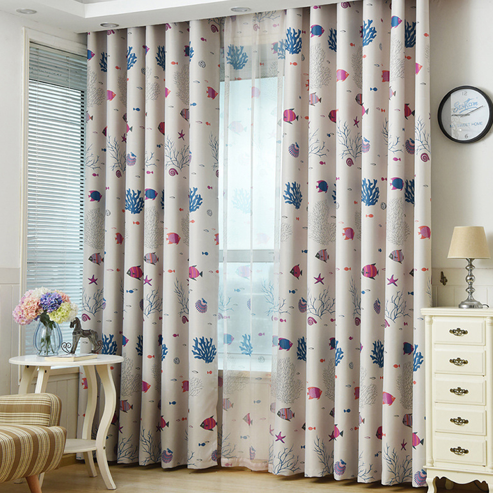 Underwater World Printing Window Curtain for Kids Room Shading Decor Coffee color cloth_1 meter wide x 2.7 meters high