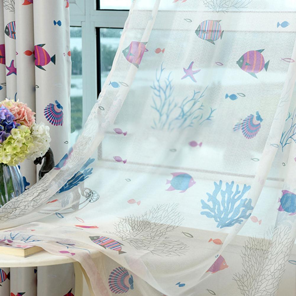 Underwater World Printing Window Curtain for Kids Room Shading Decor Coffee yarn_1 meter wide x 2.7 meters high