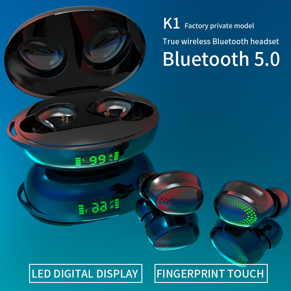 K1 Touch Bluetooth Headset 5.0 Wireless Binaural In-ear Earbuds With Power Display Bluetooth Headset Black