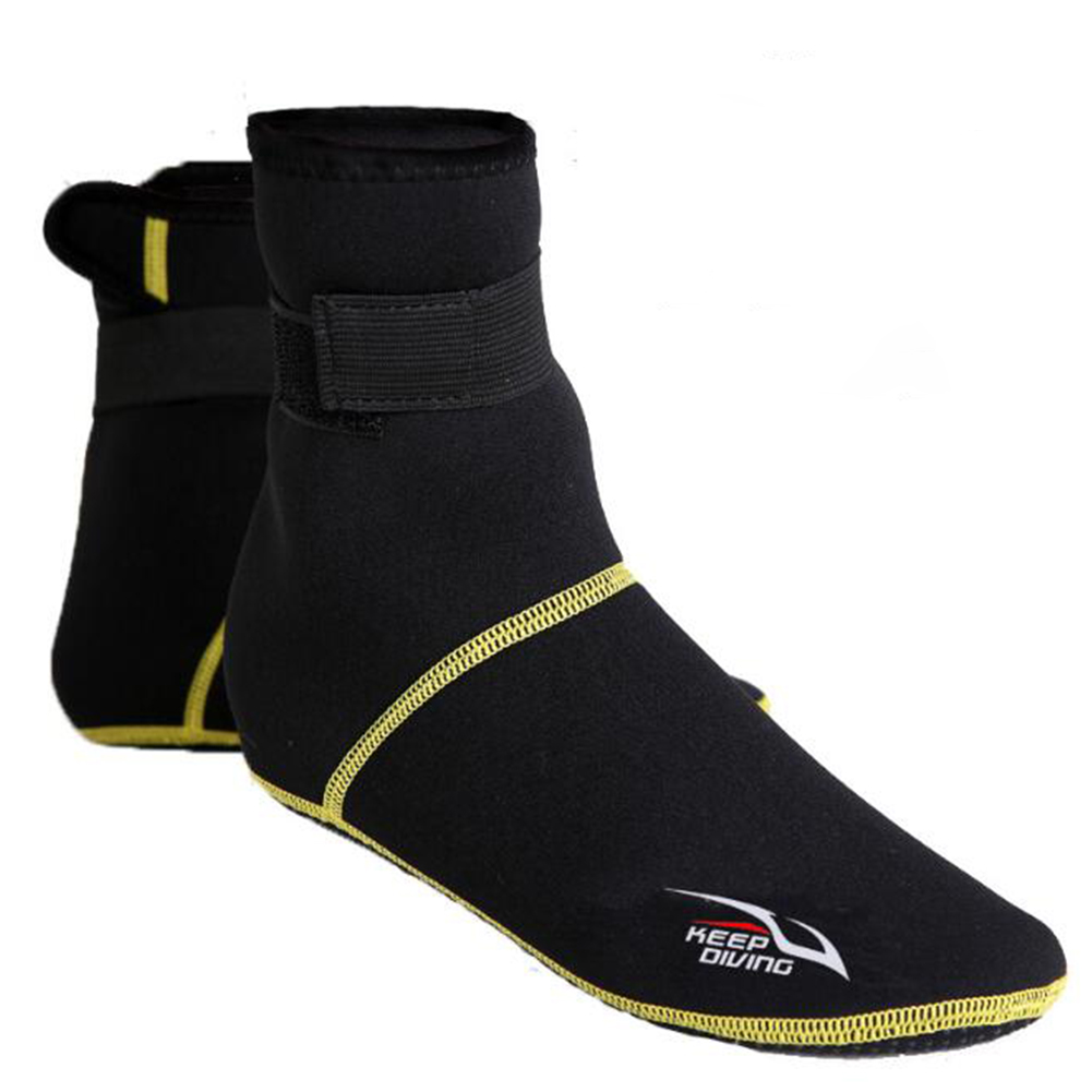 3mm Thicken Diving Socks Shoes Snorkeling Boots Neoprene Non-slip Breathable Swim Shoes Black gold line_L
