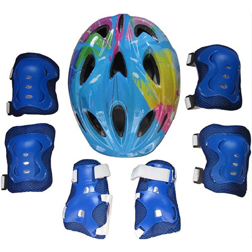 Kids Adjustable Bike Helmet Protect Set with Knee Elbow Wrist Guard for Cycling Biking Skateboard  Blue printing_Children