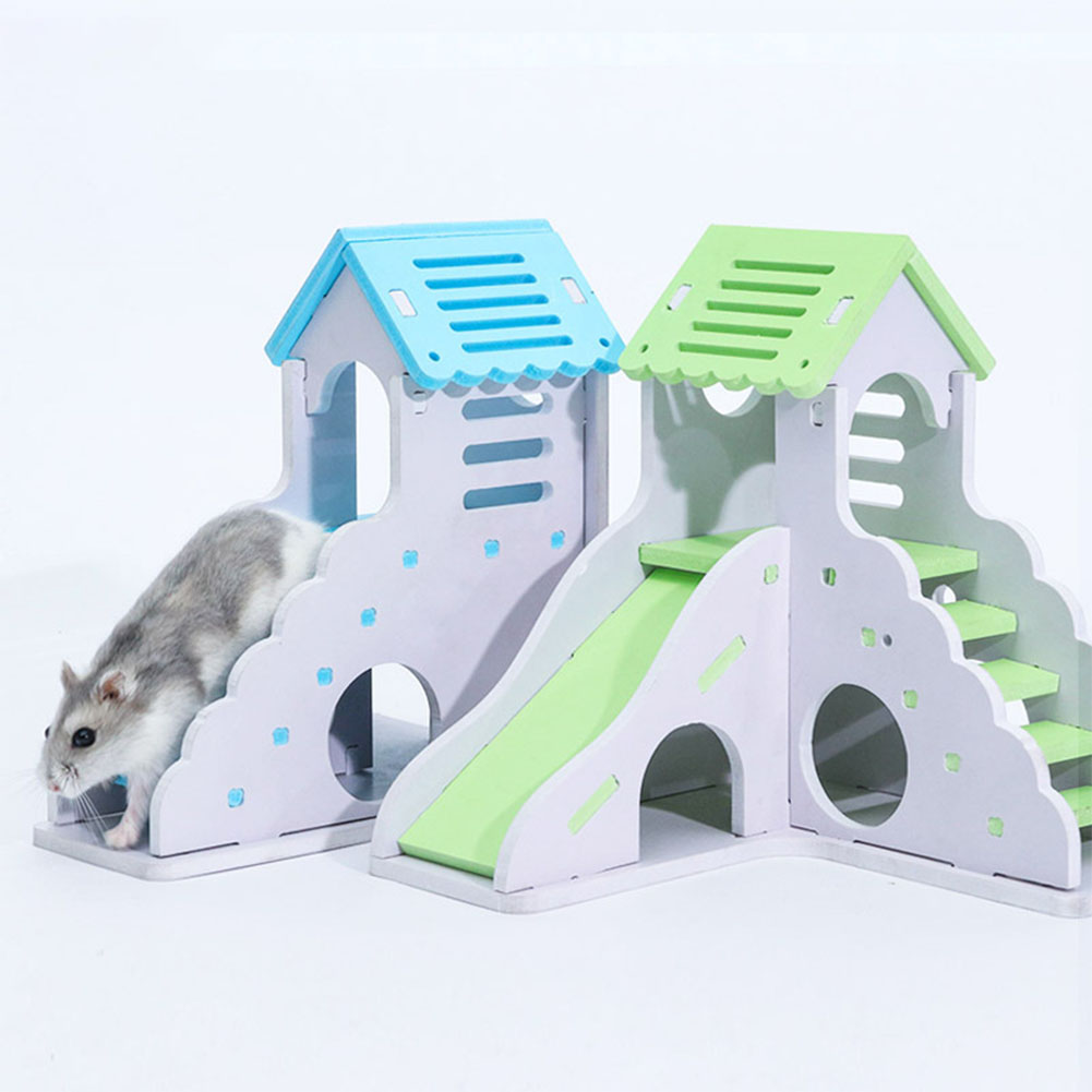 Pet Small Animal Hideout Hamster Hedgehog Guinea Pig House Two Layers Wooden Villa Exercise Play Toys with Ladder  blue_small building with ladder