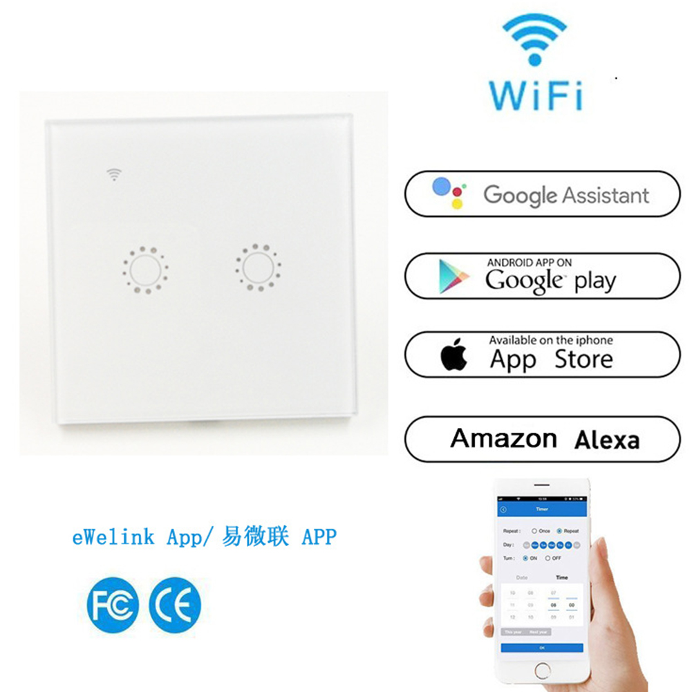 Intelligent WIFI Touch Remote Control Switch Voice Control WIFI Smart Panel Switch (2 channels) white_EU/UK Plug