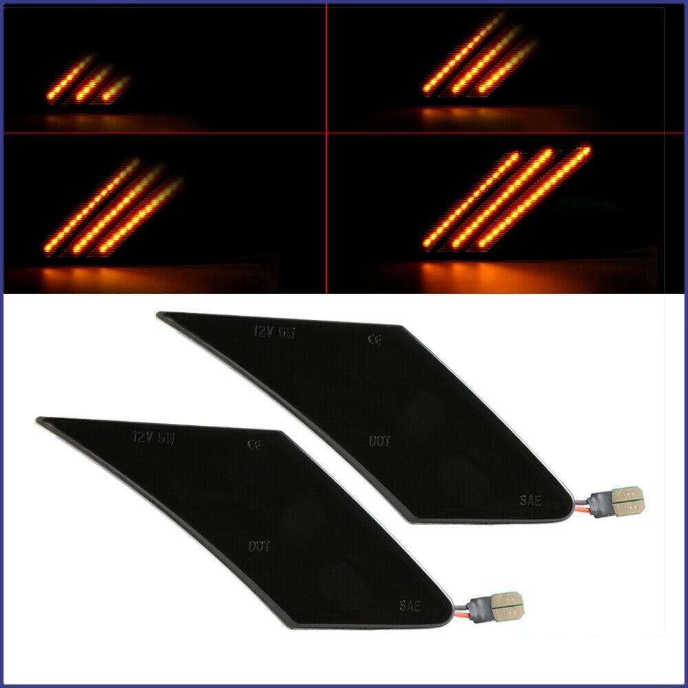Dark Smoked Len Amber Led Panel Bumper Dynamic Flowing Side  Marker  Light For 2013-2020 86 Brz Smoky black