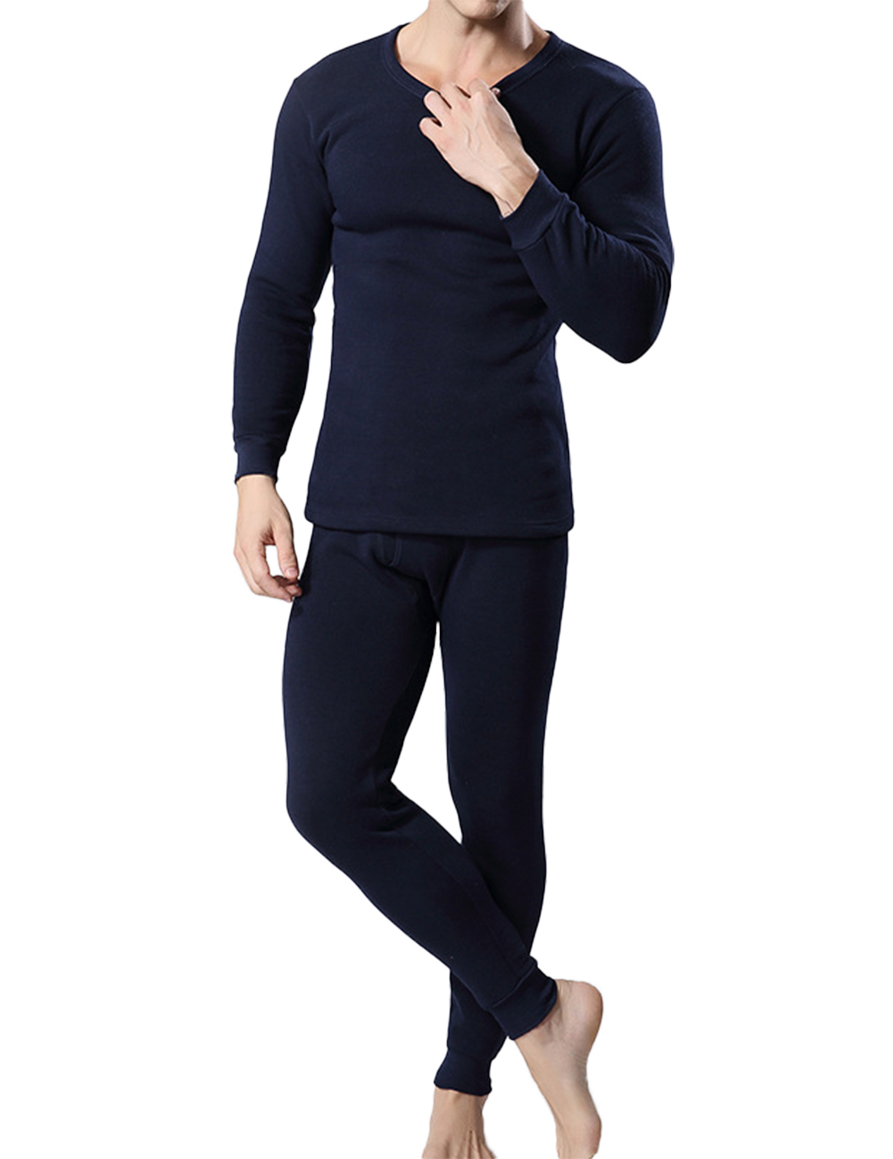 Men's Autumn and Winter Round Neck Long Sleeve Solid Color Vans Thermal Underwear Set