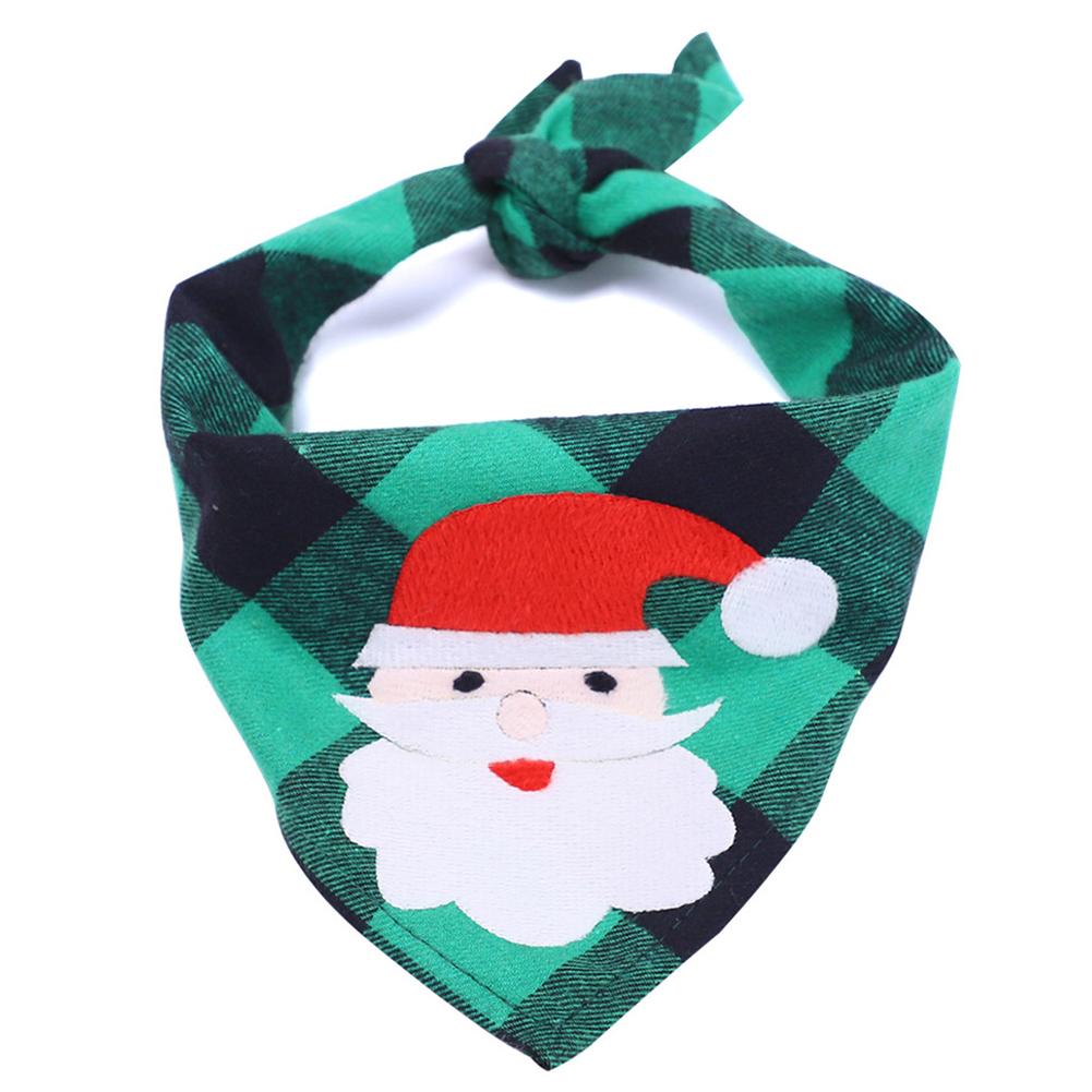 Pet Printing Bibs Saliva Towel Christmas Pattern Costume Decor for Small Cat Dog Christmas Green Plaid + Santa Claus