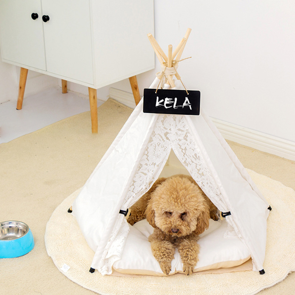 Pet Tents Kennel Dog House Canvas Fabric Cat Sleeping Nest with Cushion