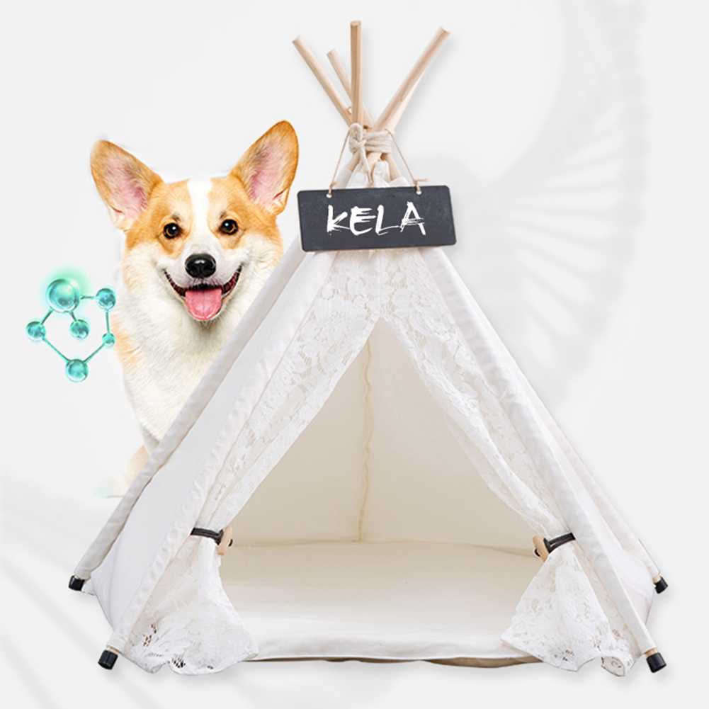 Pet Tent Washable Removable Canvas Lace Sleeping Nest for Dogs