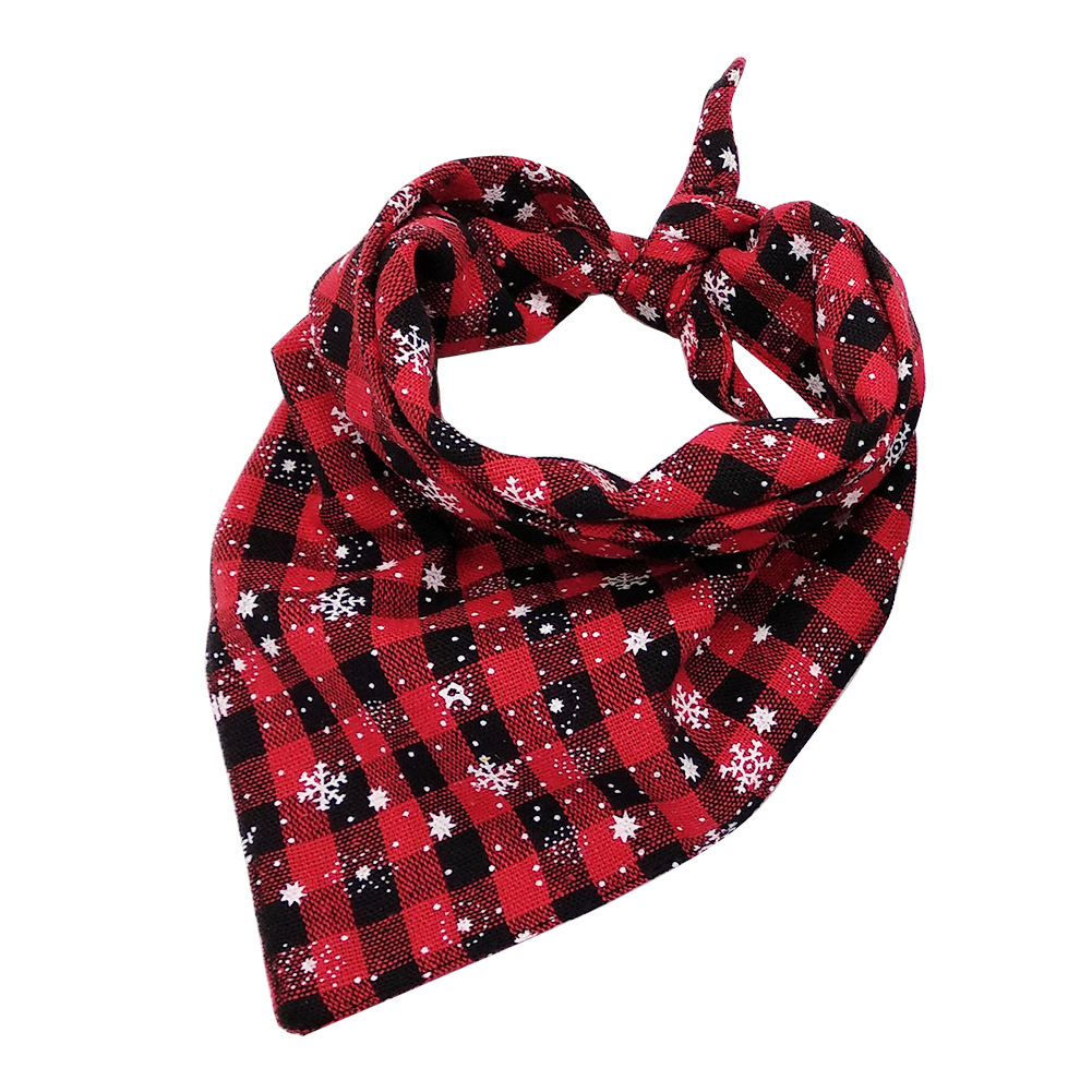 Christmas Series Printing Triangular Scarf for Pet Dogs Wear Red snowflake