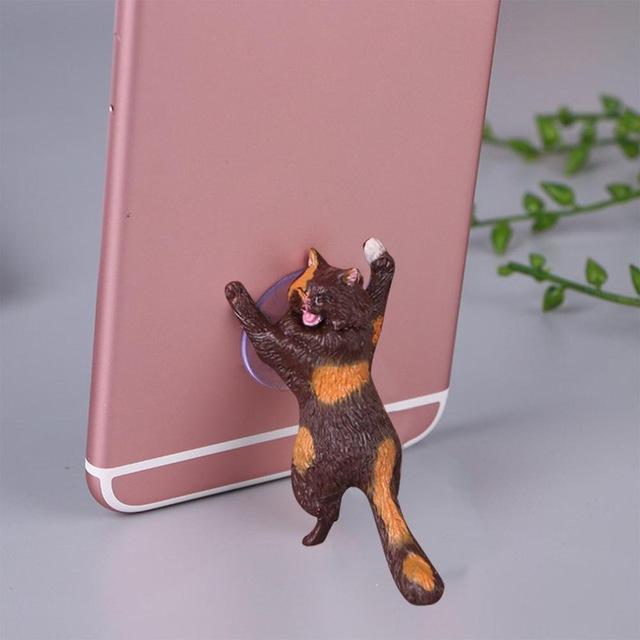Cute Cartoon Cat Phone Holder Car Mount Sucker Bracket Universal for Sumsung Huawei LG iPhone X XS 8 7 6 brown