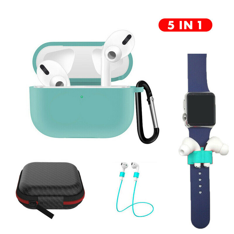 Earphone Protective Case for AirPods Pro Soft Silicone Cover+Carabiner+Anti-lost Strap+Wrist Holder+Storage Bag Green