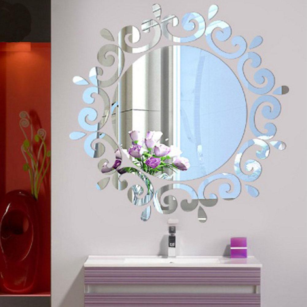 Self Adhesive Fashion Acrylic Crystal lighting Stickers Home Decal Wallpaper Mirror Wall Sticker Bedroom Corridor Silver