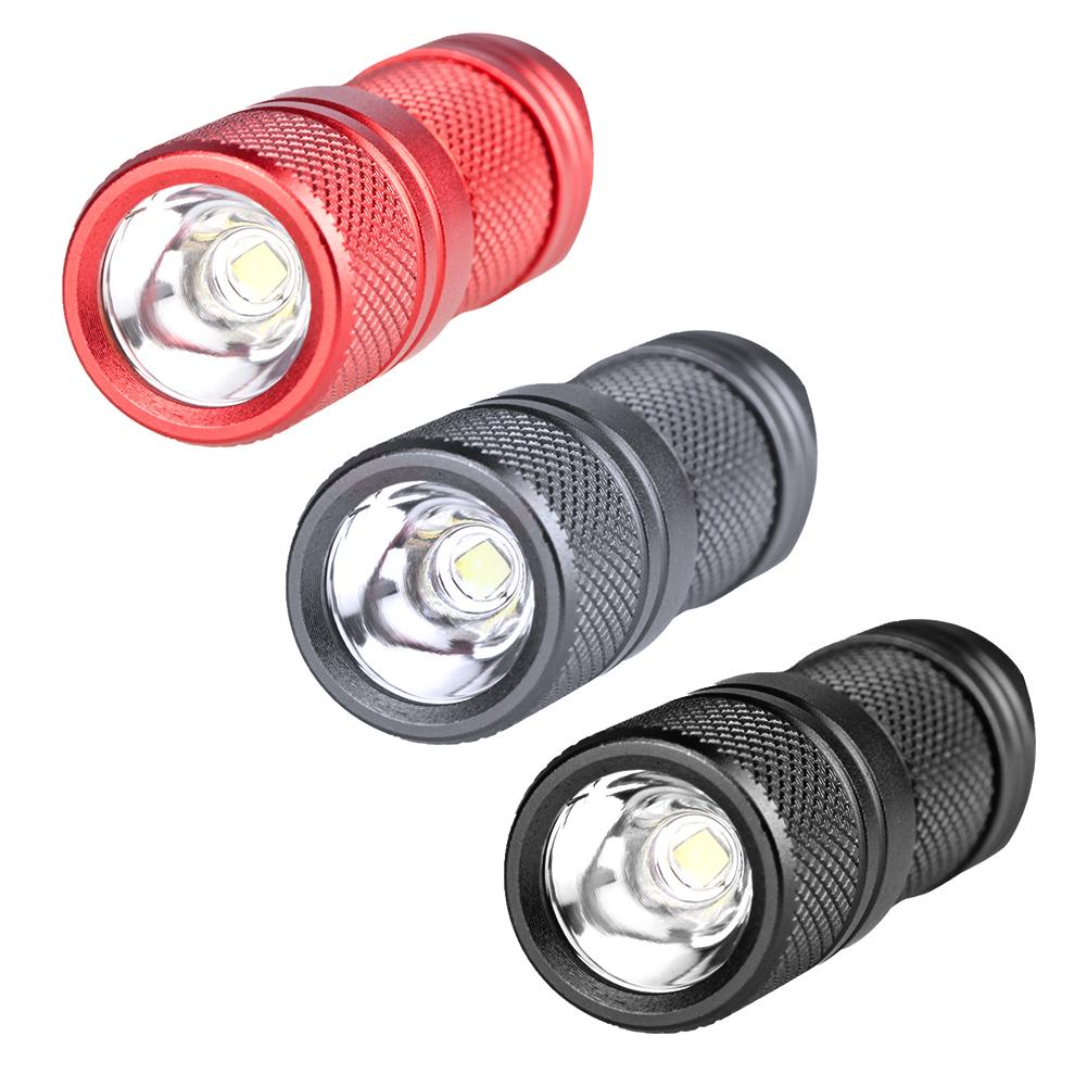 Mini Flashlight with Key Chain Stainless Steel Strong Light for Night Camping Walking Outdoor red