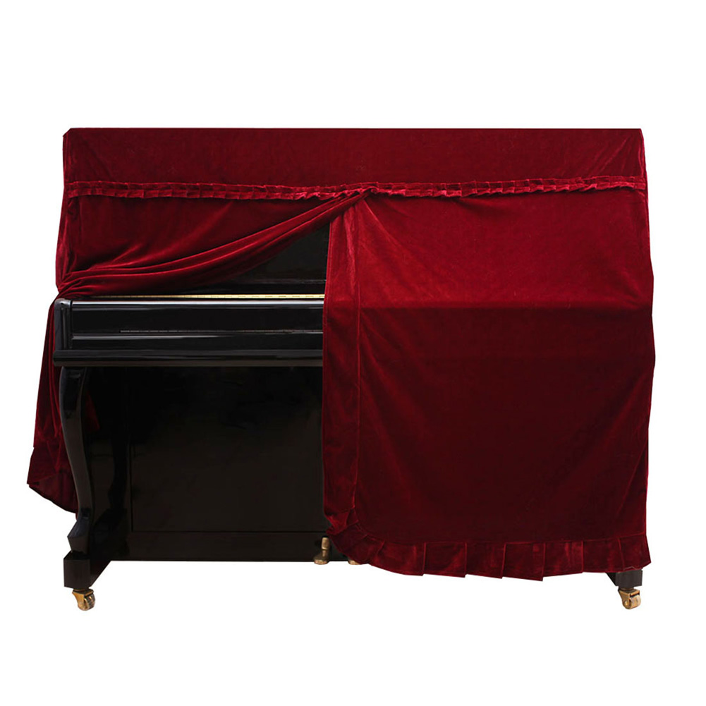 Golden Velvet Cover Front Slit with Lace Decor for Piano red