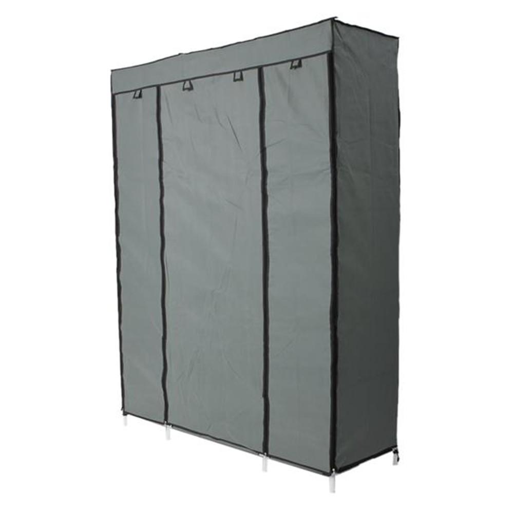 [US Direct] Non Woven Storage Wardrobe Portable 5layers 12grids Clothes Closet 133x46x170cm gray