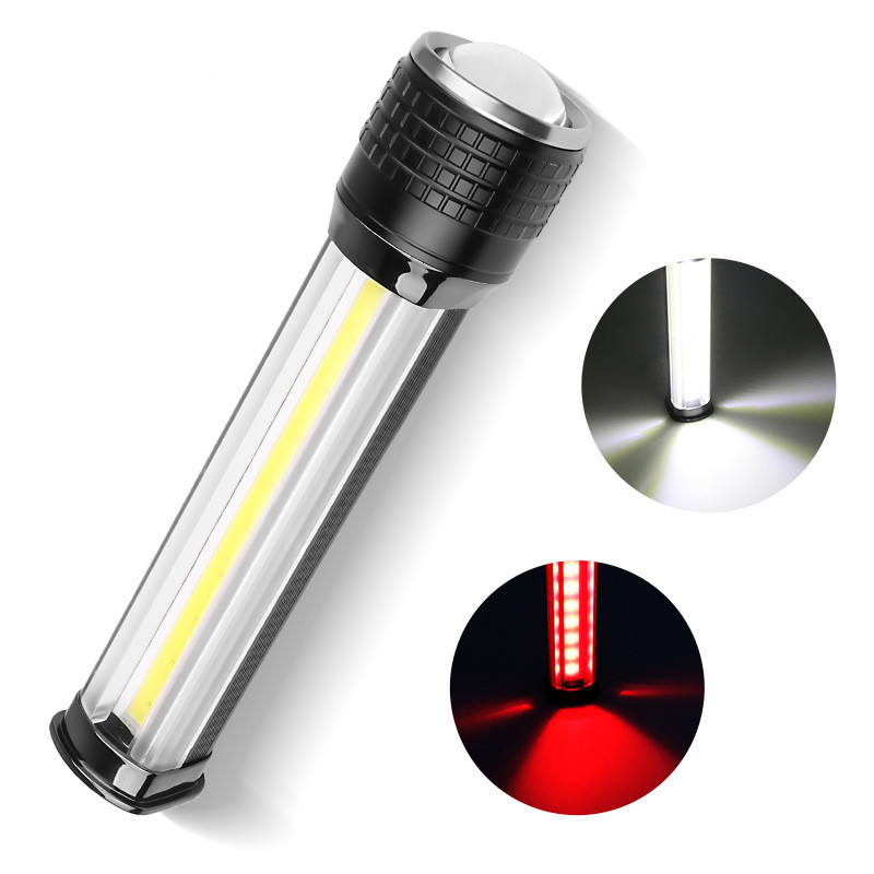 XHP70+COB Red Light Flashlight USB Rechargeable LCD Display Outdoor Torch black