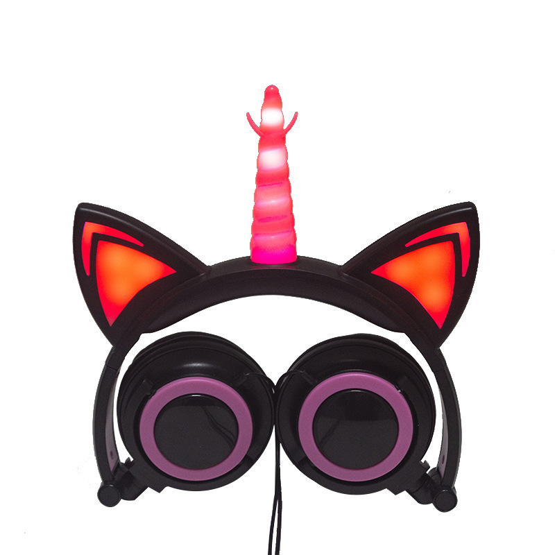 Cute Kids Cat Ear Headphones Wired Adjustable for Boys Girls Tablet Kids Headband Earphone Foldable Over On Ear Game Headset  Black pink