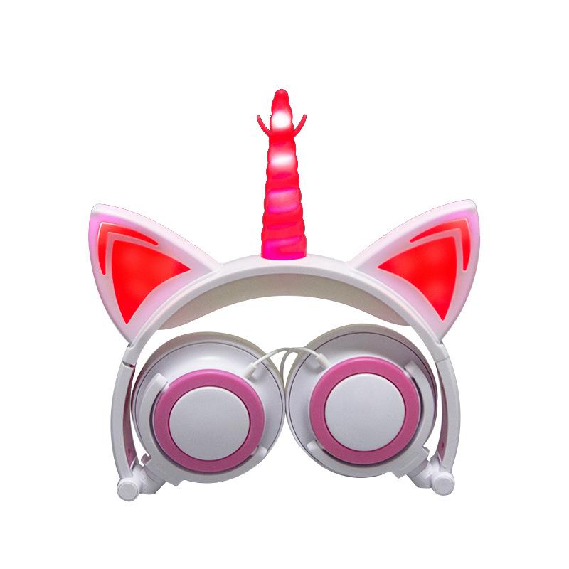 Cute Kids Cat Ear Headphones Wired Adjustable for Boys Girls Tablet Kids Headband Earphone Foldable Over On Ear Game Headset  White pink