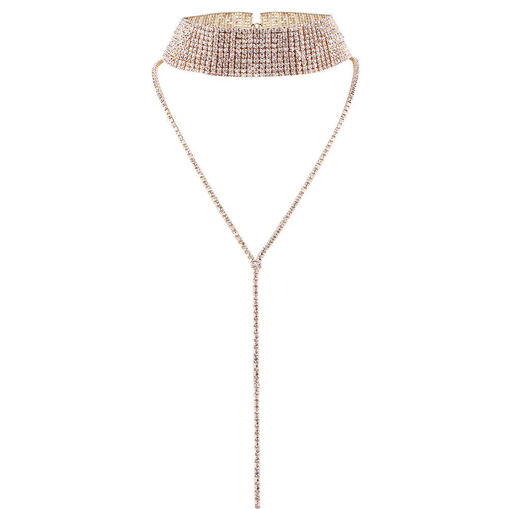 Women Popular Neck Multi-layer Full Diamond Necklace