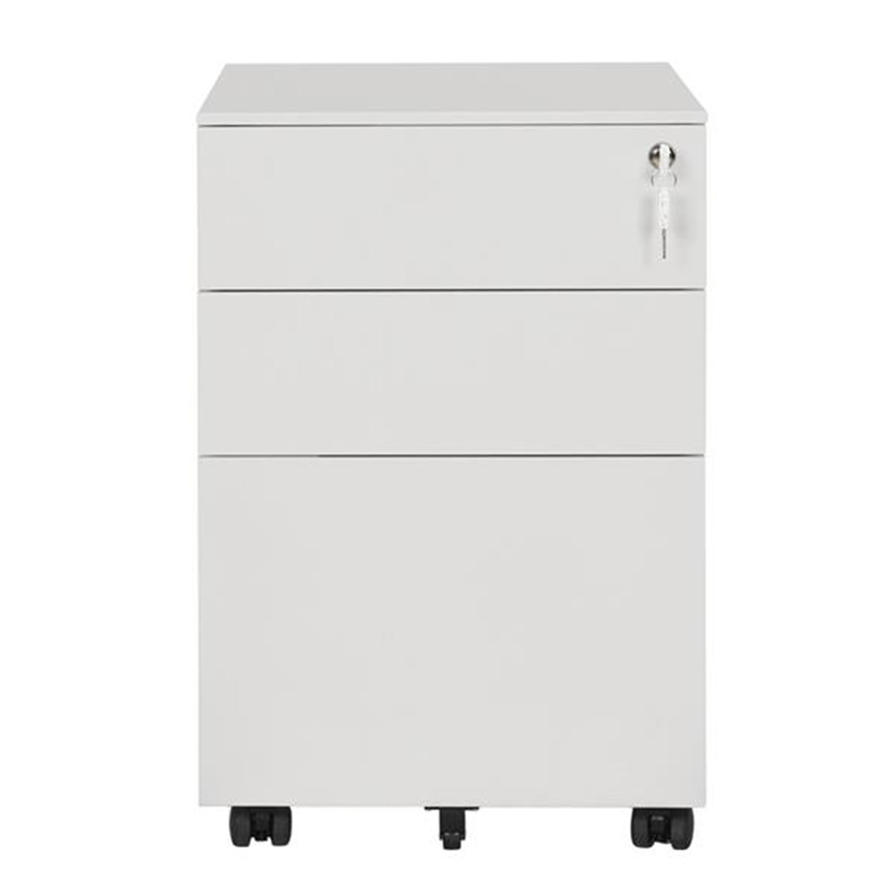 [US Direct] 39cm  Movable Storage Cabinet With Three Side-pull  Drawers File Cabinet Business Furniture For Home Office white