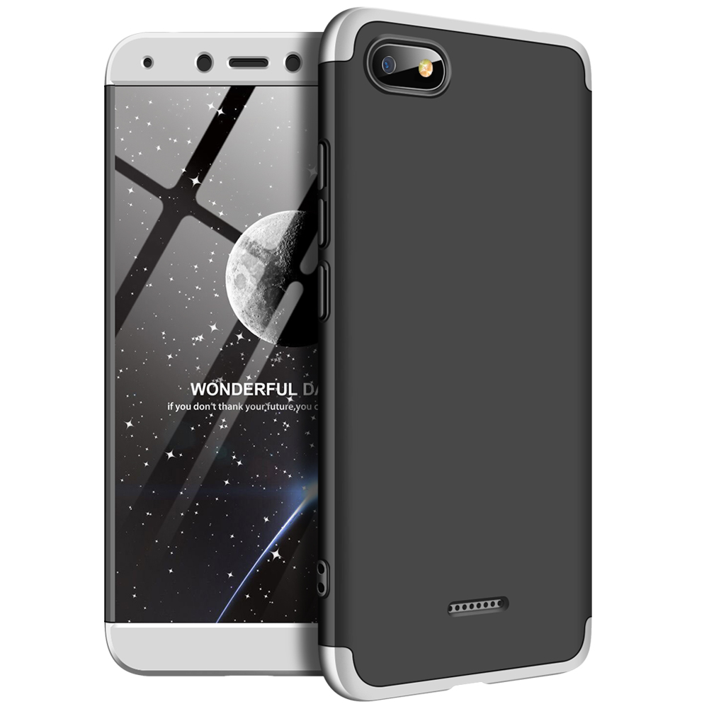 For XIAOMI Redmi 6A Ultra Slim PC Back Cover Non-slip Shockproof 360 Degree Full Protective Case silver black silver_XIAOMI Redmi 6A
