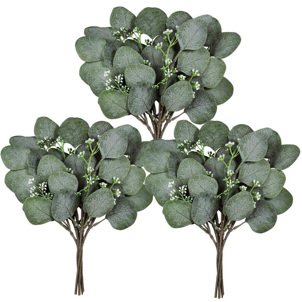 Simulate  Eucalyptus  Leaf Artificial Greenery Holiday Greens DIY Christmas  Decor With Berry
