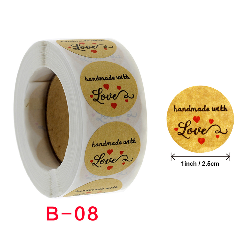 Round Natural Kraft Handmade Stickers Scrapbooking For Package Adhesive Seal Labels Stationery b-08_2.5cm/1inch
