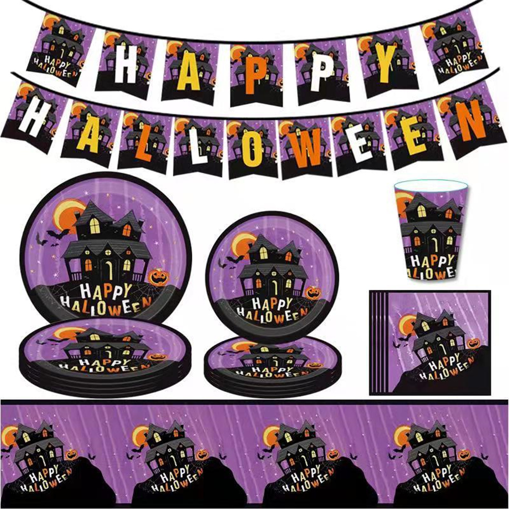 Halloween  Props Paper Cups Plate Tableware For Party Decorative Lay Out Purple