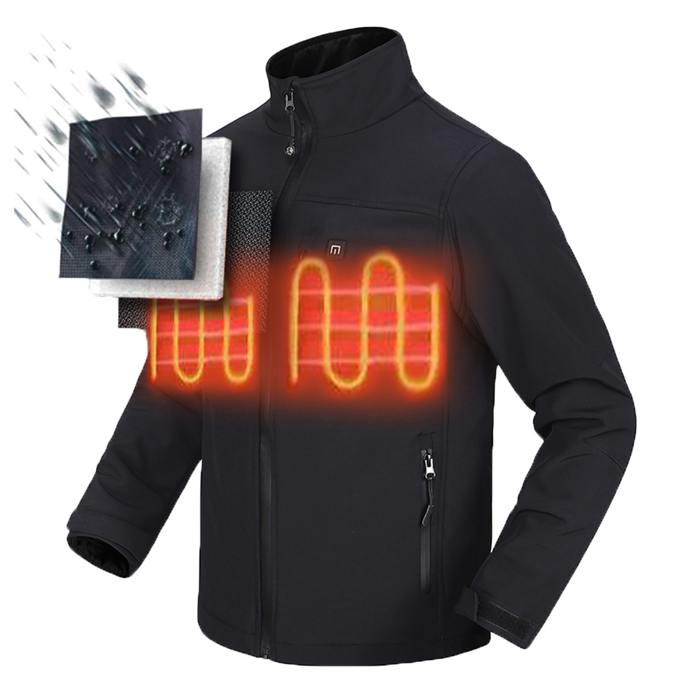 Safe Electric Heating Jacket Riding Warm Clothing with Battery and Charger black_L