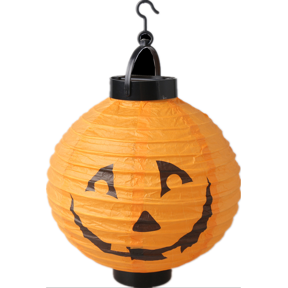 Halloween Decoration LED Paper Pumpkin Hanging Lantern Light Lamp Halloween Decorations for Home  20cm pumpkin lantern