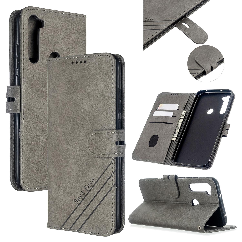 For Redmi Note 8T/Redmi 8/Redmi 8A Case Soft Leather Cover with Denim Texture Precise Cutouts Wallet Design Buckle Closure Smartphone Shell  gray