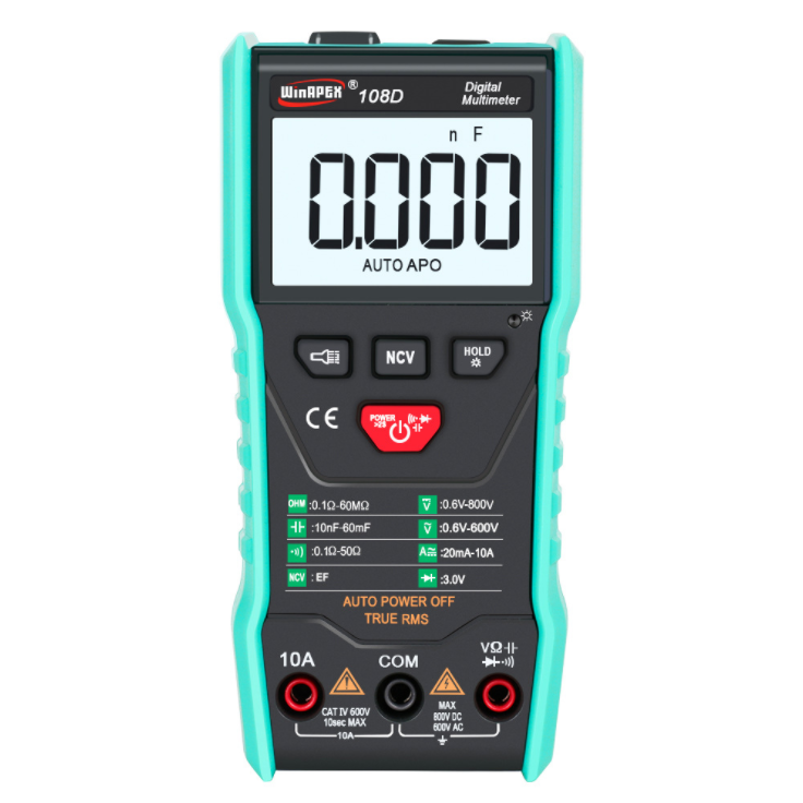 Winapex 108D Digital Multimeter Auto True RMS 5999 Mearuring AC/DC Voltage Current Ohm NCV Capacitance Meter Black body Green protective cover