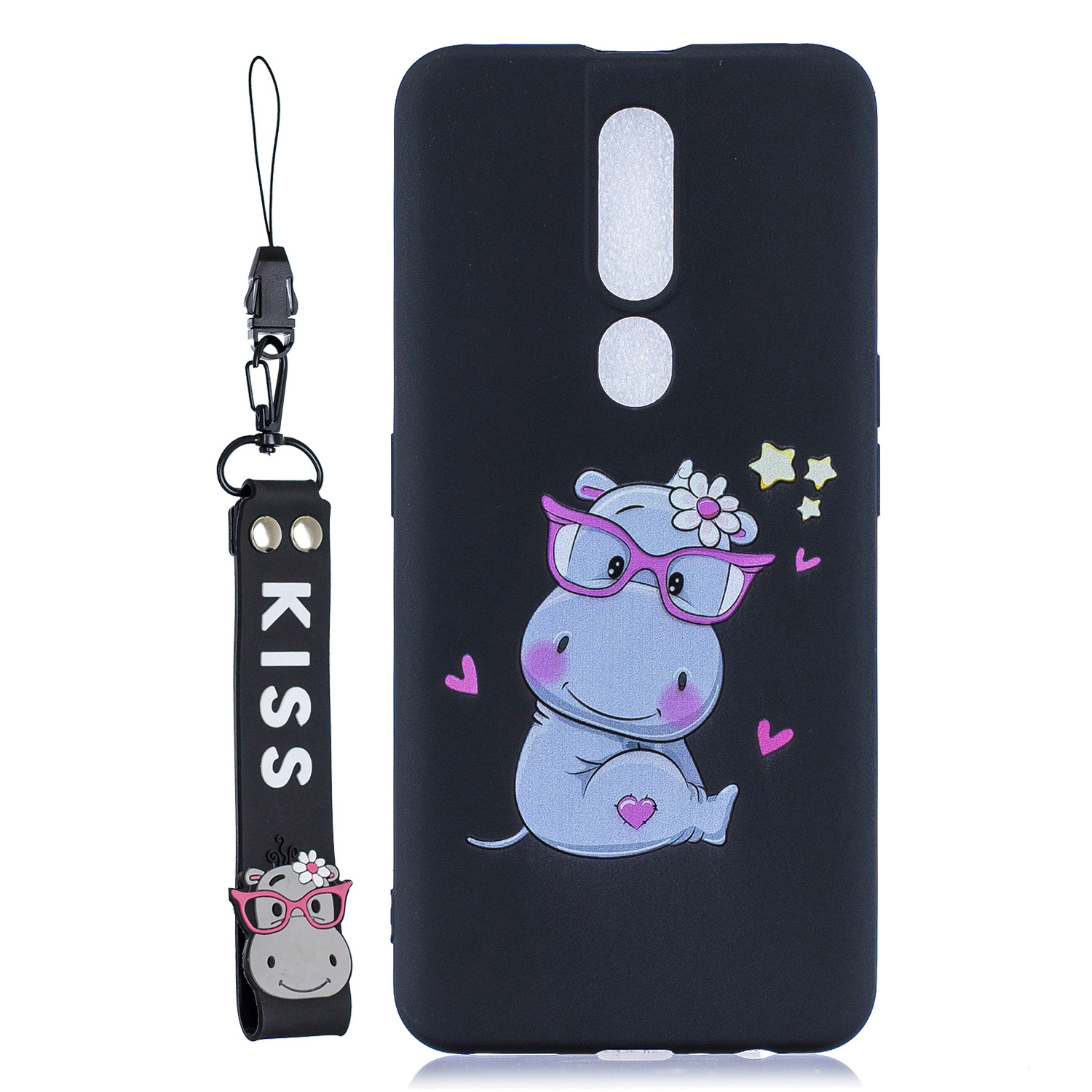 For OPPO F11 PRO Cartoon Lovely Coloured Painted Soft TPU Back Cover Non-slip Shockproof Full Protective Case with Lanyard black