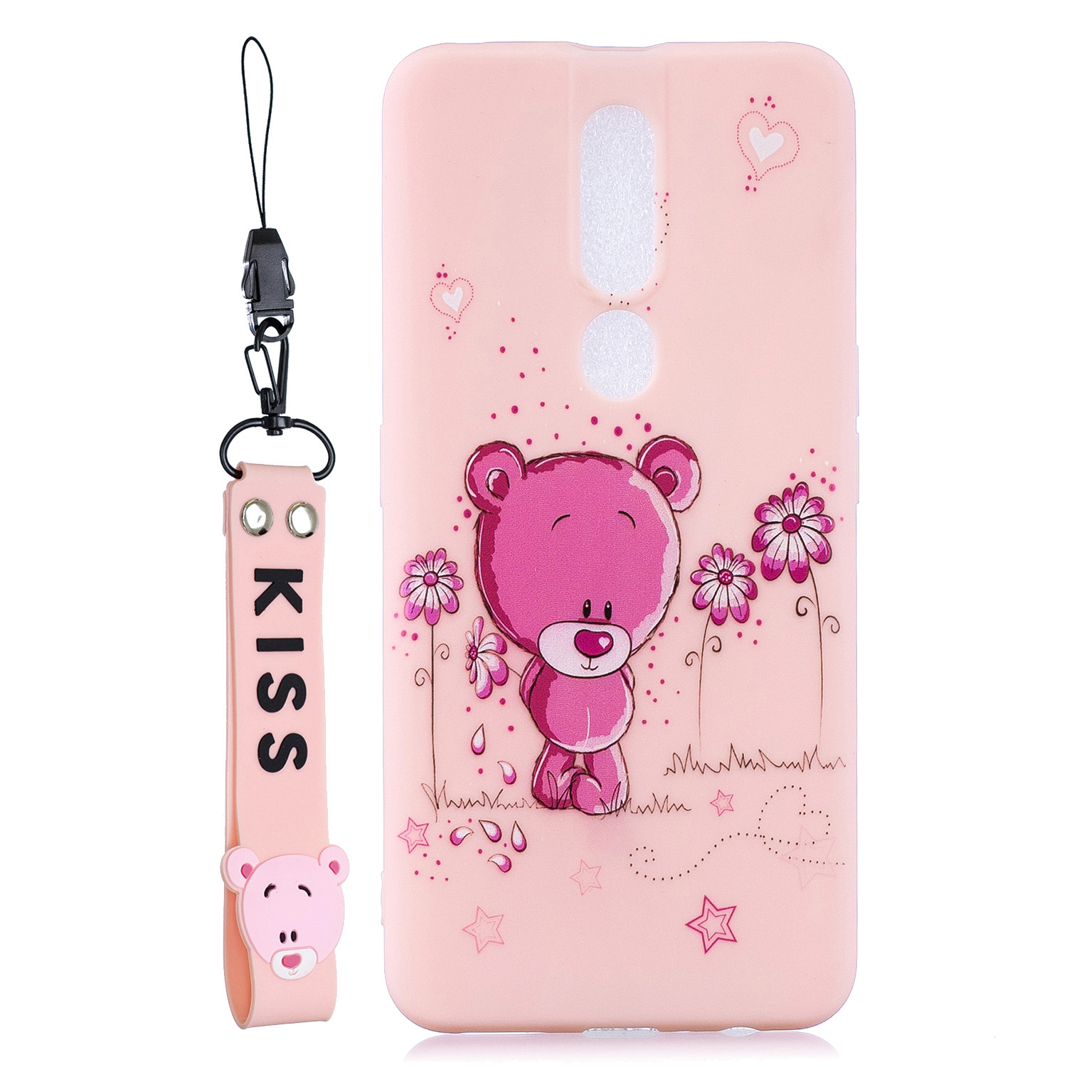 For OPPO F11 PRO Cartoon Lovely Coloured Painted Soft TPU Back Cover Non-slip Shockproof Full Protective Case with Lanyard Light pink