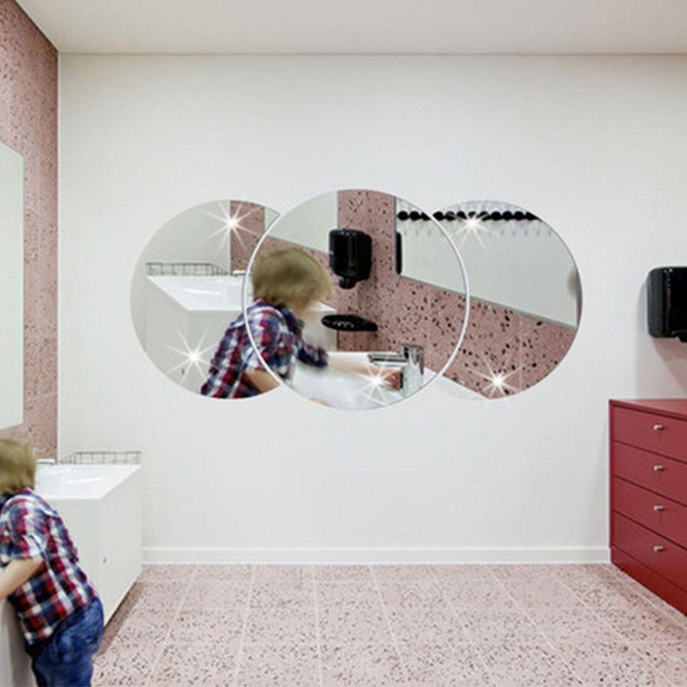 Round Combination Mirror Wall Sticker DIY Decorative Living Room Handwashing Wallpaper Sticker Silver