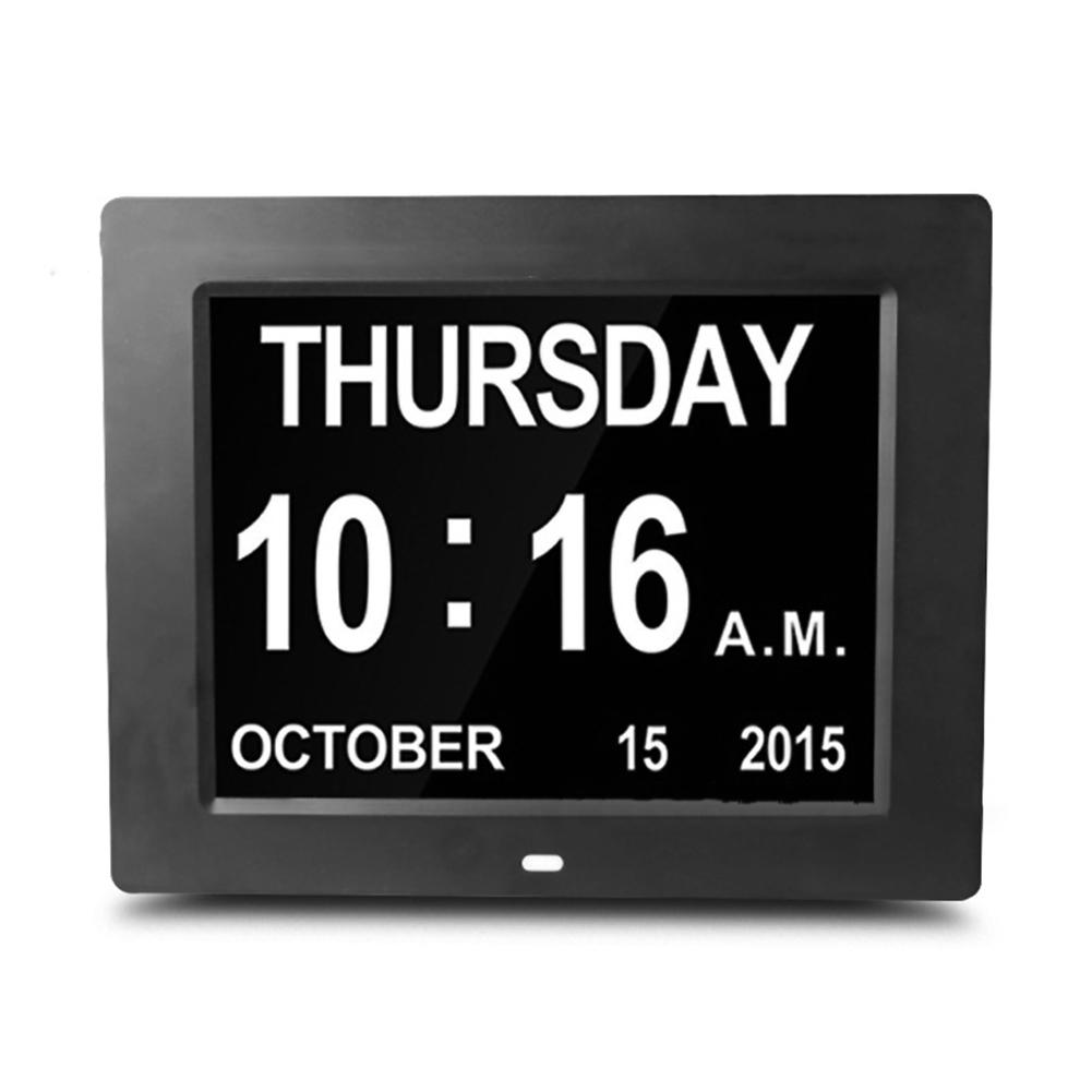 8-inch Digital Large Digital Display Clock For Elder Electronic Alarm Clock black