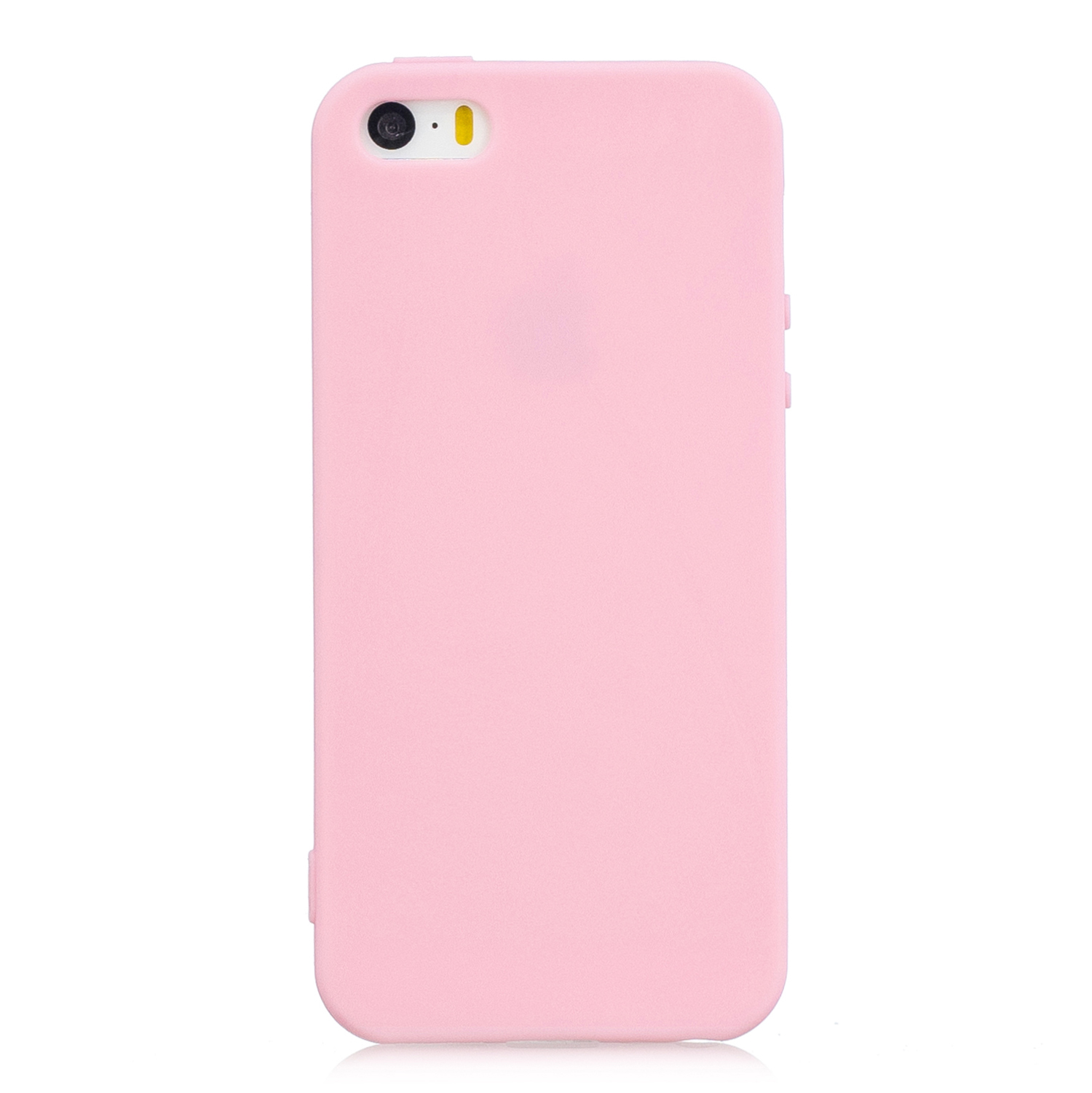 for iPhone 5/5S/SE Lovely Candy Color Matte TPU Anti-scratch Non-slip Protective Cover Back Case dark pink
